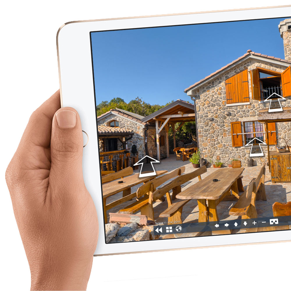 Virtual tour on a tablet